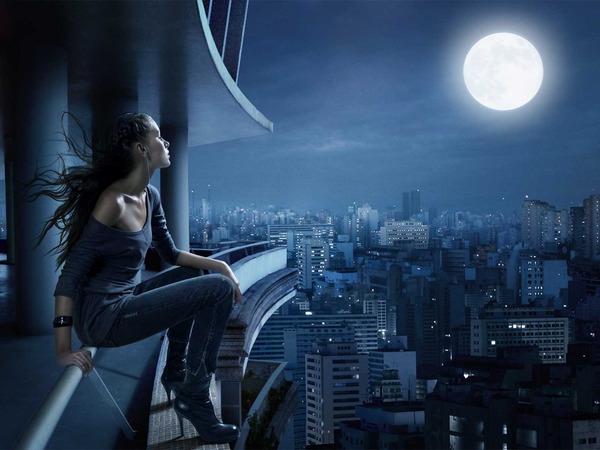 Темы лунный серп люди пейзажи