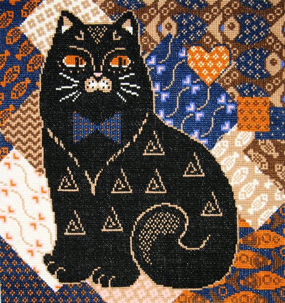 Вышивка крестом подушка котенок 7