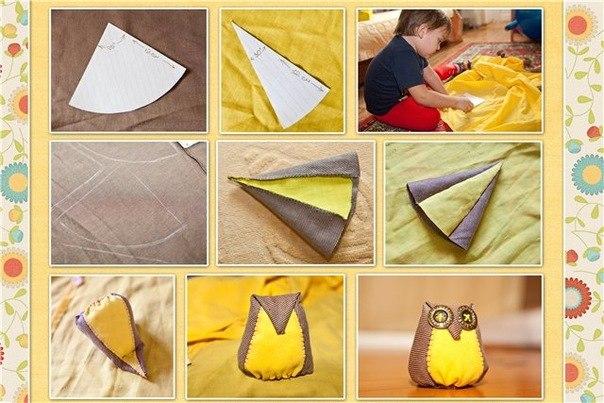 Как сделать сову своими руками из ткани фото