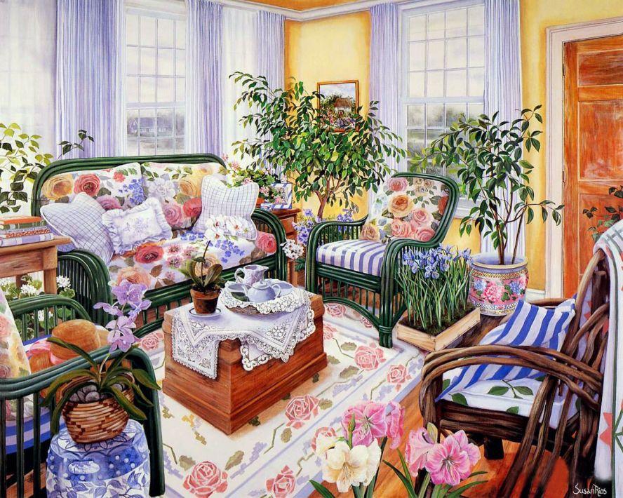 Комната с цветами картинки 2