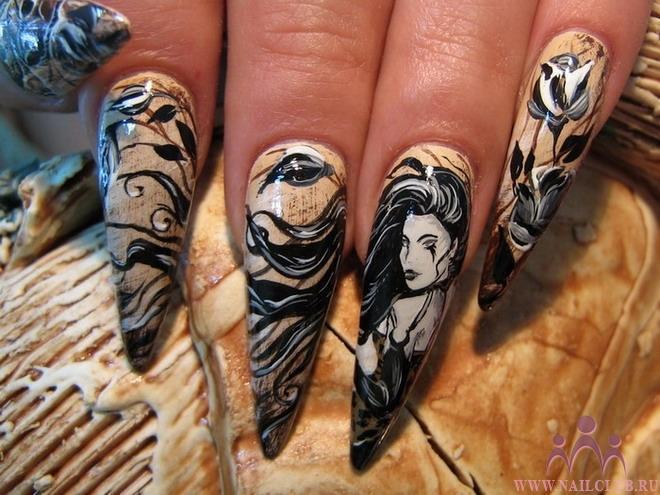 Готический вид ногтей представляют готическую культуру и