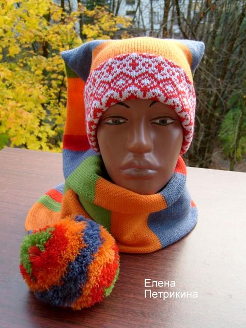 50% шерсть, 50% акрил.  Теплая, полушерстяная шапка-шарф.  На высоту головы-шапка двойная, общая длина 1...