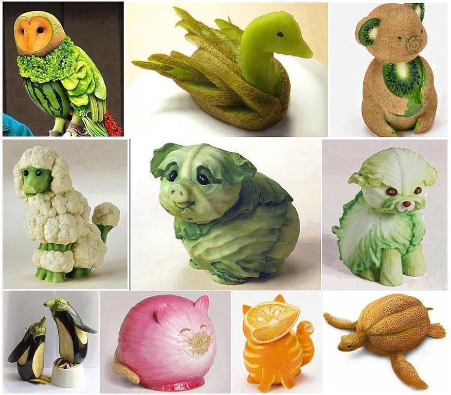 Фигурки из овощей и фруктов своими руками фото
