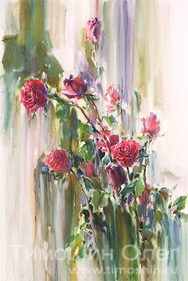 Розы в живописи акварель