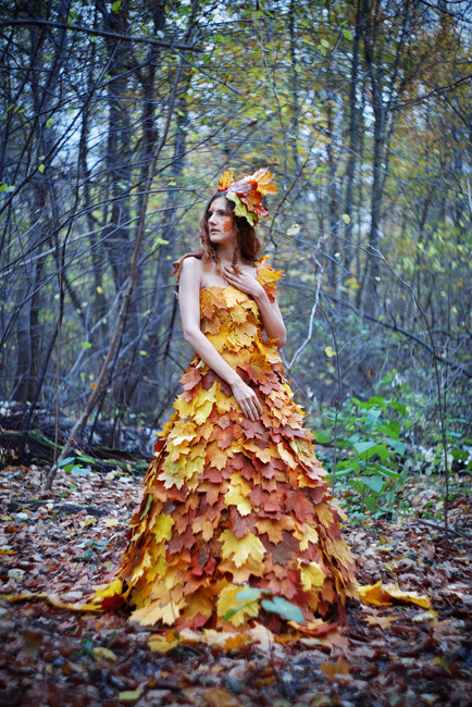Платье из листьев своими руками на тему осень фото