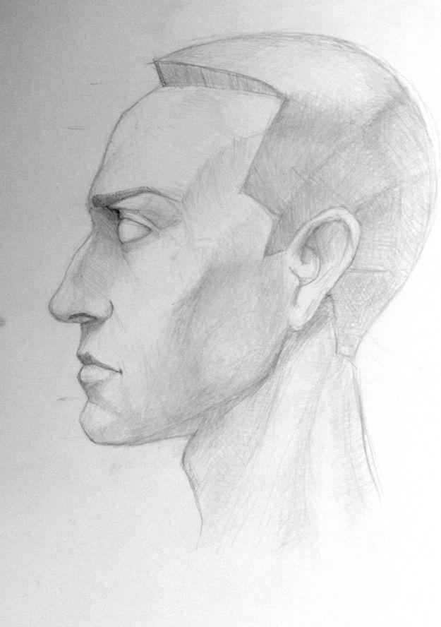 человек в профиль карандашом лег спину