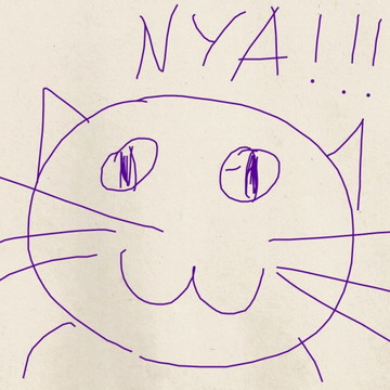 а этот замечательный фиолетовый котэ - шедевр Эндрю с айпада :3.