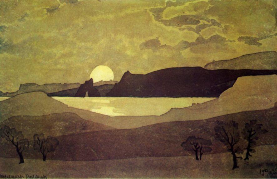 Крымский пейзаж с луной найти похожие