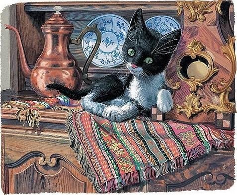 """Схема вышивки  """"Рисованные кошки """": таблица цветов."""