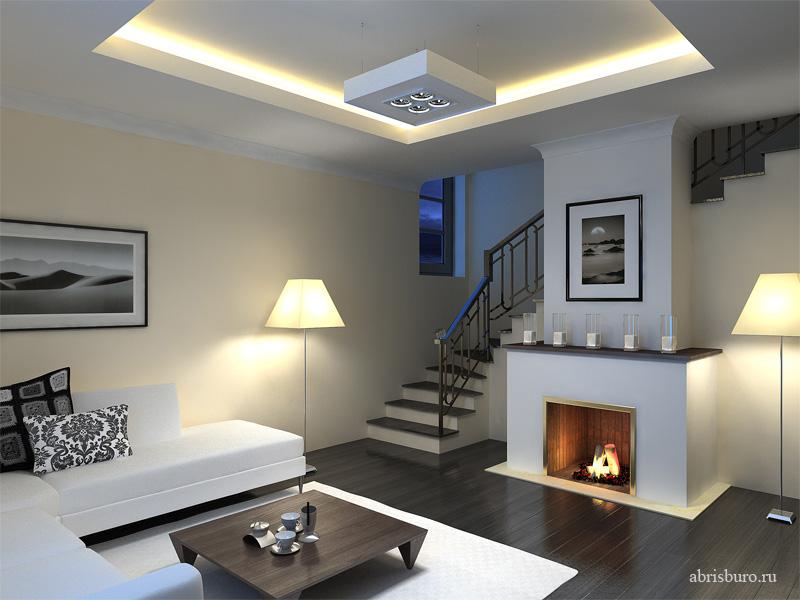 Дизайн гостиной с лестницей фото