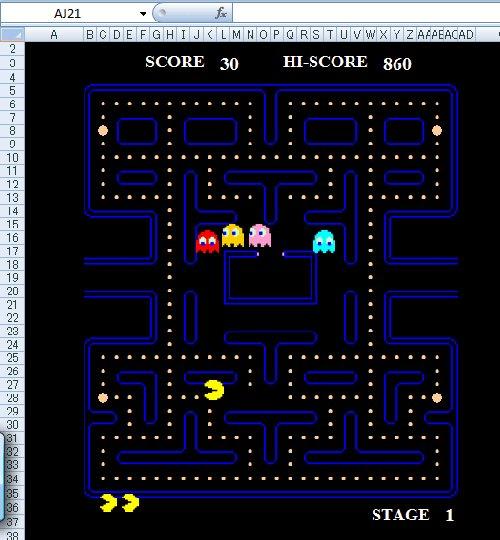 Pac-Man, Space Invaders, Donkey Kong, Dig Dug MS Excel скачать