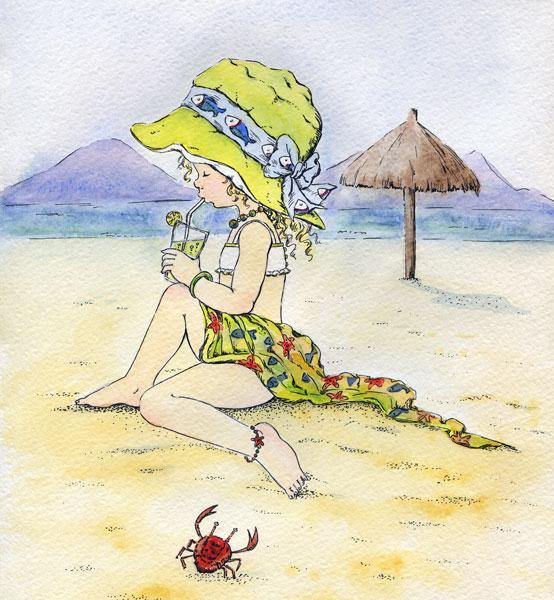 Рисунки на пляже загорают