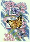Канва для вышивки крестом Три бабочки.