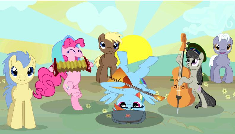 пони с виолончелью... она