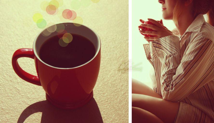 фото девушки и чашки