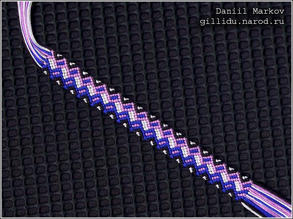 Схема плетения фенечек из мулине американский флаг.