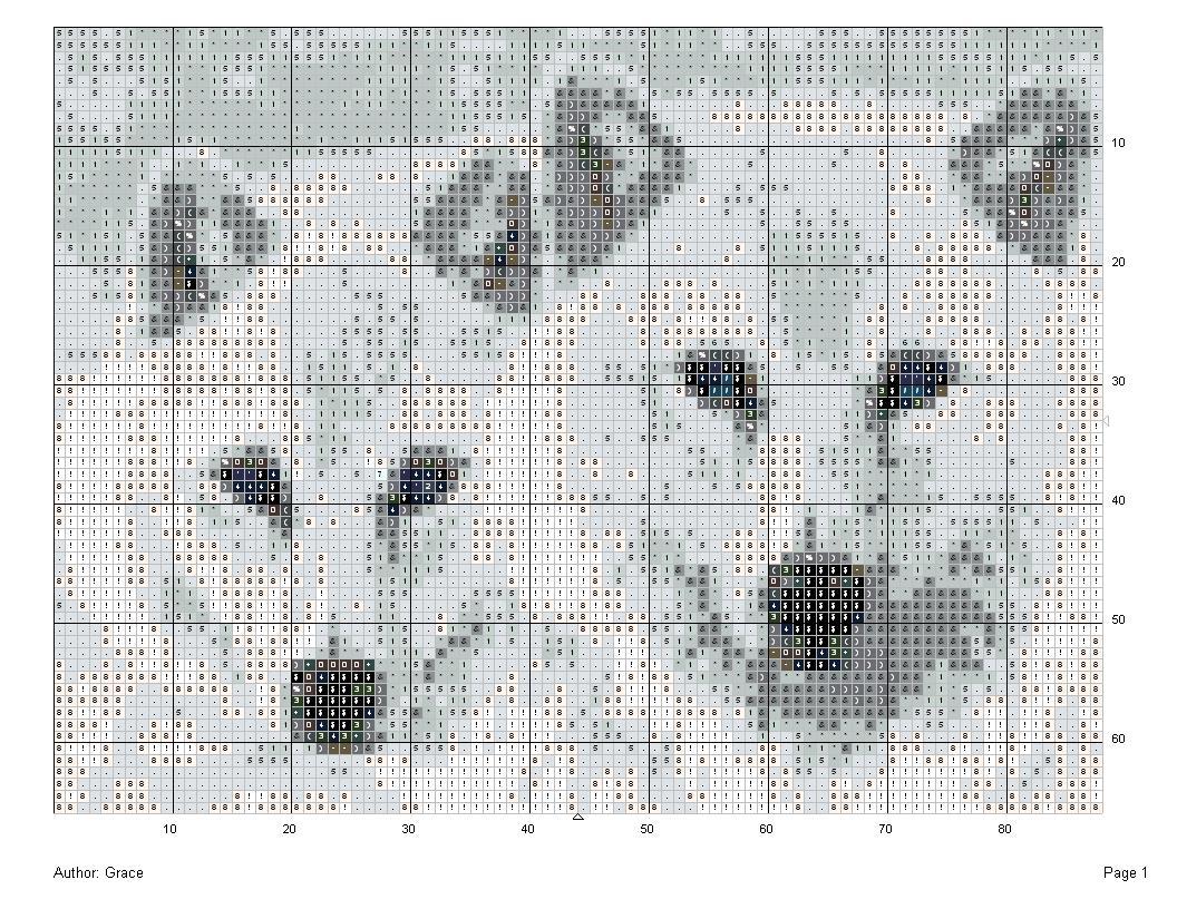 Схема для вышивки белые волки 397