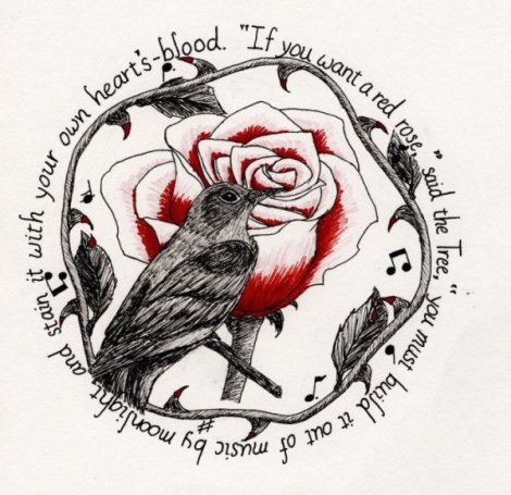nightingale and the rose From her nest in the holm-oak tree the nightingale heard him, and she looked out  through the leaves, and wondered 'no red rose in all my garden' he cried.