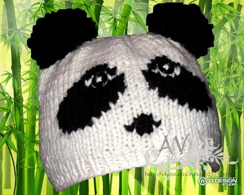 Вязание спицами. шапка панда крючком