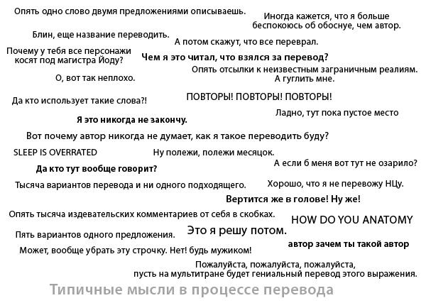 типичные мысли в процессе перевода