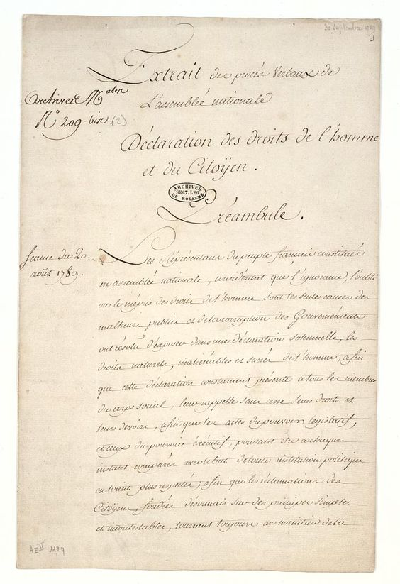 """the role and significance of the declaration of the rights of man and citizen in france But even the introduction, in which the national assembly """" en présence et sous les auspices de l'être suprême """" solemnly proclaims the recognition and declaration of the rights of edition: current page: [26] man and of citizens, and also sets forth the significance of the same, is inspired by the declaration of congress and by those of."""