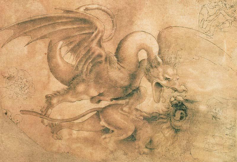 Fight between a dragon and a lion - Leonardo da Vinci