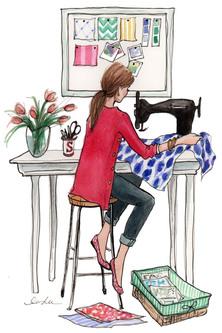 Картинка девушка за швейной машинкой