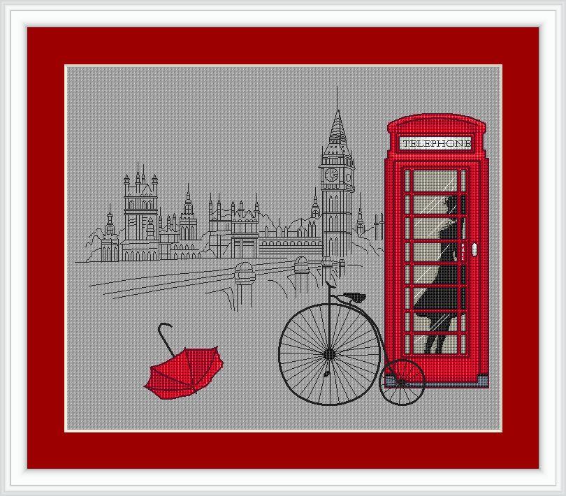 Схема для вышивки лондонский автобус 18