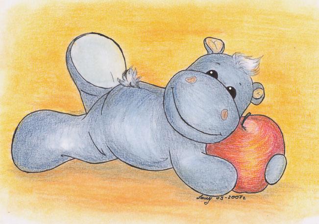 Этот бегемотик с яблоком рисовался для. на ее конкурс.  Теперь уже можно показать вам моего Сплюшу.  Энжи.