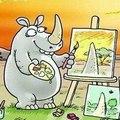 Зеленый носорог с розовой уточкой на тракторе
