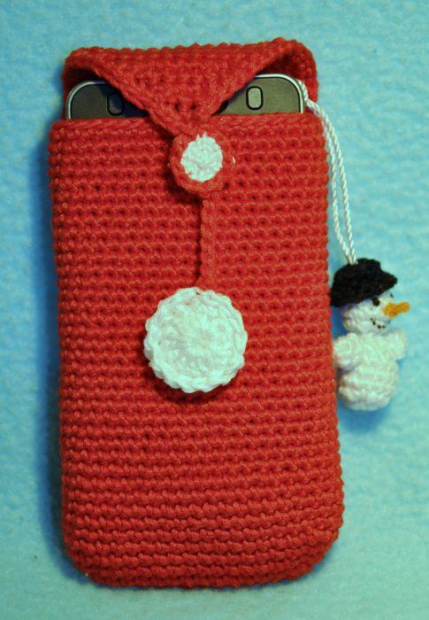 чехол для телефона + брелок на телефон техника- вязание крючком чехол застегивается на кнопку. снеговик на шнурочке...