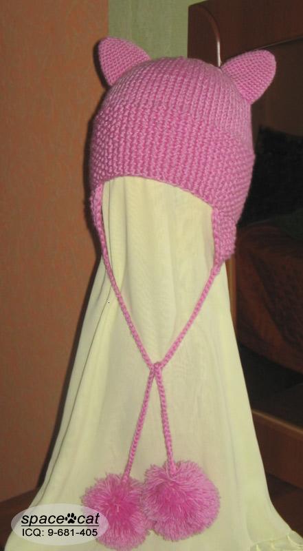 Описание: схемы вязания шапки с кошачьими ушками.