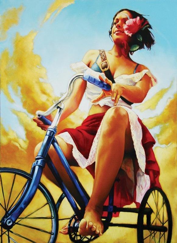 """Предпросмотр - Схема вышивки  """"Девушка на велосипеде """" - Схемы автора  """"M-Olga """" - Вышивка крестом."""