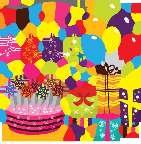 Элементы открытки с днем рождения 107