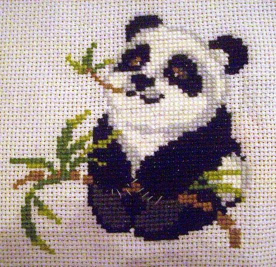 техника вышивки панды.
