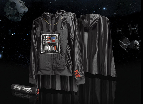 У adidas есть линейка одежды Star wars edition.  Куртка им. Дарта...