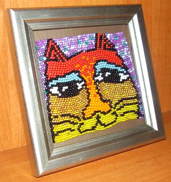 Бисерное ткачество Забавные коты.  Схема Riolis рамка с кошками.