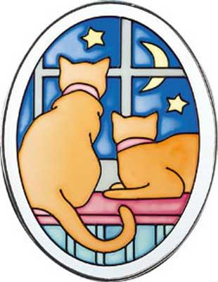 """Витраж для раскрашивания  """"Кошки в окне """" ."""