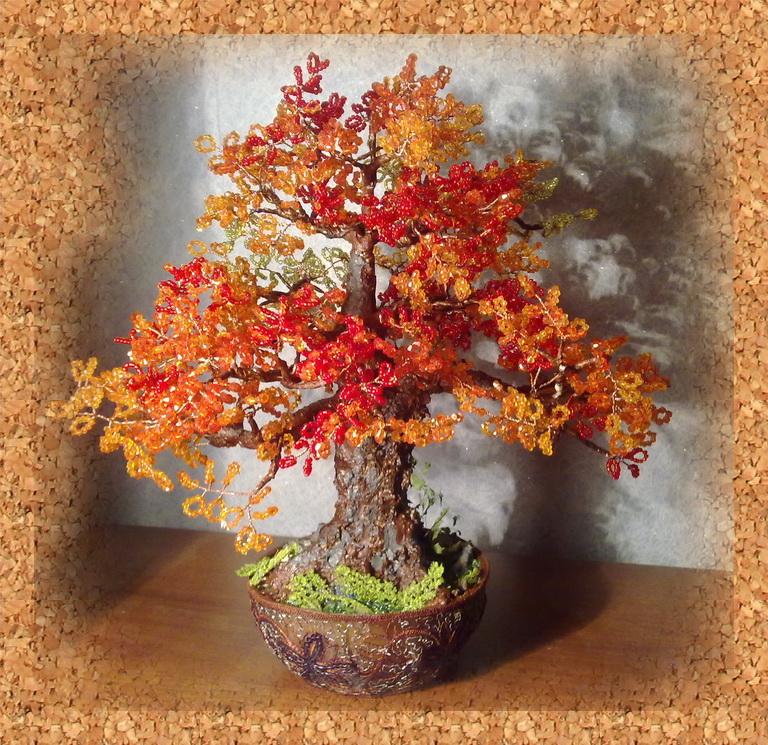 Бисер деревья осенью