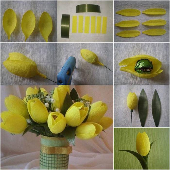 Цветы из бумаги с конфетами своими руками с пошаговым фото