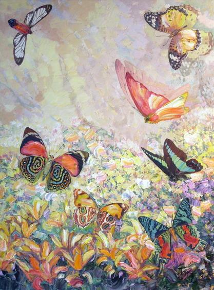 """Схема вышивки  """"сиреневые бабочки,отражение """" ."""