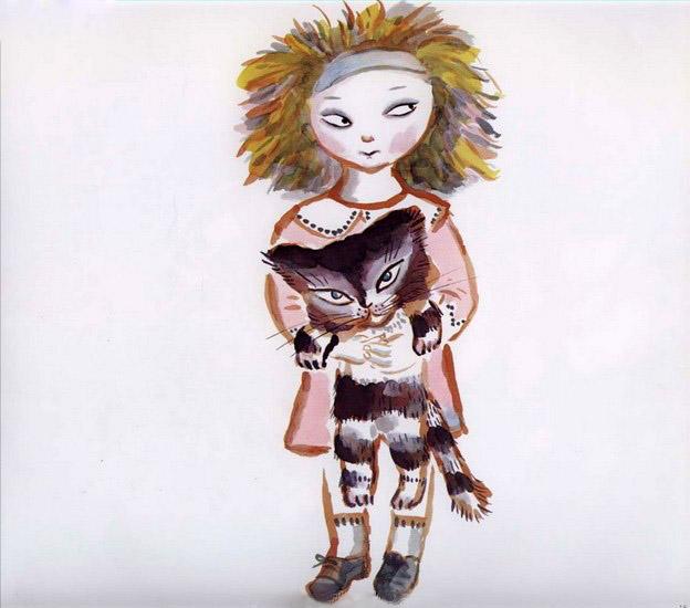 Но он совсем не любил детей. Девочка носила кота на спине. Она