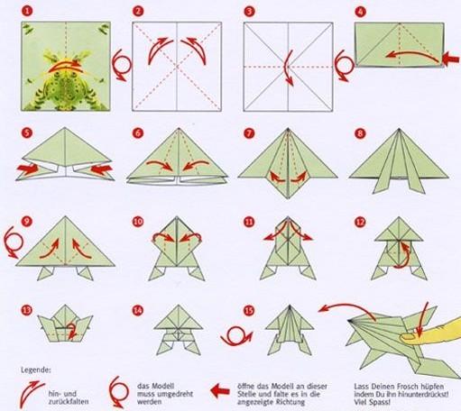 Оригами лягушка из бумаги - Поделки