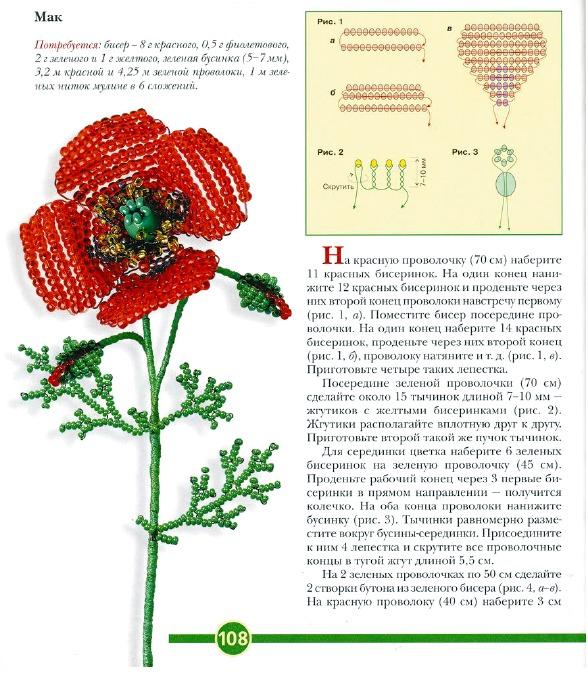 Калина из бисера - схема плетения, Калина из бисера для начинающих, Ваза Василек.