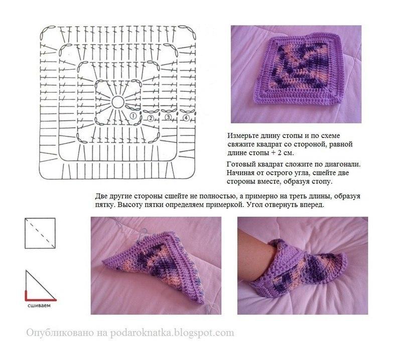 Вязание носок из квадратиков спицами