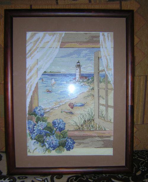 Вышивка окно на море 567