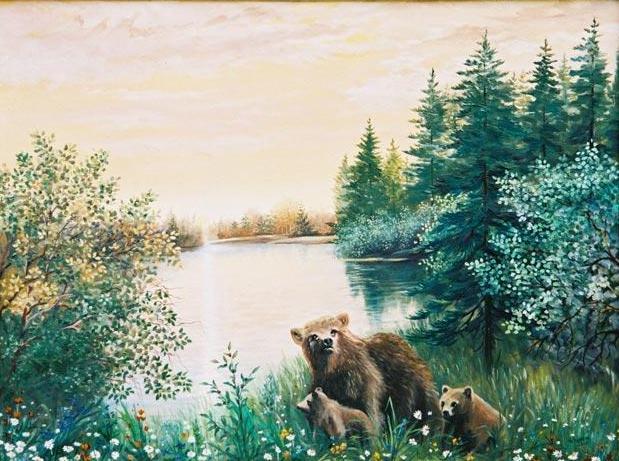 Медведи на поляне.